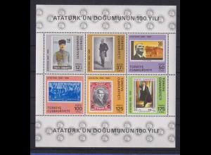 Türkei 1981 Atatürk - 100. Geburtstag Mi.-Nr. Block 19 postfrisch**