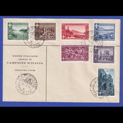 Italien 1944 Campione Mi.-Nr. 6-12 kompletter Satz auf Umschlag gestempelt