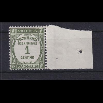 Andorra 1935 Portomarke 1 C Mi.-Nr. 16 postfrisch **