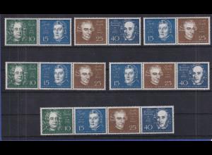 Bundesrepublik 1959 Lot alle 6 Zusammendrucke aus Beethovenblock komplett **