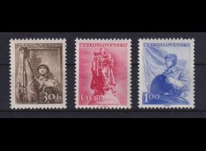 Tschechoslowakei 1956 Aufbau und Verteidigung des Vaterlandes Mi.-Nr. 962-964 **