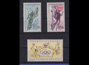 Tschechoslowakei 1956 Sportveranstaltungen Mi.-Nr. 965-967 postfrisch **