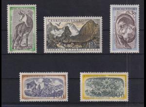 Tschechoslowakei 1957 Tatra-Nationalpark Mi.-Nr. 1035-1039 postfrisch **