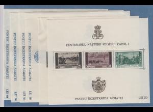 Rumänien 1939 Block 100, Geb. König Karl I. Mi.-Nr. Block 3-8 ungestempelt