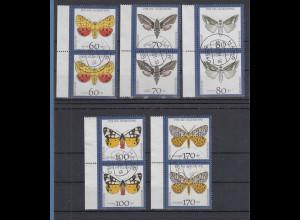 Jugend 1992 Schmetterlinge Satz senkrechte Paare mit Rand, einheitl. gest. HAAR
