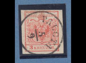 Österreich 1.Ausgabe Handpapier 3 Kreuzer rot, Mi.-Nr. 3X mit O PALOTA