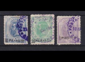 Rumänien 1896 Rumänische Post in der Levante Mi.-Nr. 1-3 a gestempelt