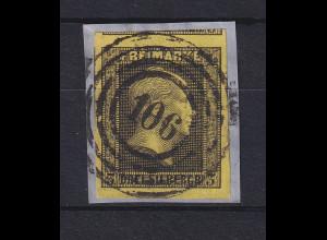 Preußen 3 Sgr. Mi-Nr. 4a mit Ringnummernstempel 106 Berlin-Bahnpost