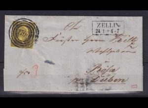 Preußen 3 Sgr Mi-Nr. 4a mit Ringnummernstempel 1700 Zellin auf Brief