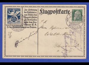 Bayern Flugpostkarte Ganzsache SFP1/02 1912 gel. von München nach Bleicherode