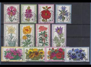 Bund Wohlfahrt 1974-1975-1976 Blumen alle mit Luxus-Voll-O SCHWEINFURT