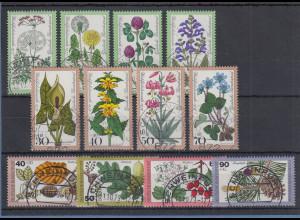 Bund Wohlfahrt 1977-1978-1979 Blumen/Pflanzen alle mit Luxus-Voll-O SCHWEINFURT