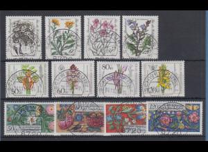 Bund Wohlfahrt 1983-1984-1985 Pflanzen/Blüten alle mit Luxus-Voll-O SCHWEINFURT