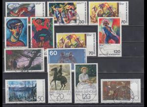 Bund 1974-79 Gemälde insgesamt 13 Werte alle mit Luxus-Voll-O SCHWEINFURT