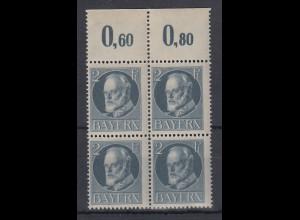 Bayern Ludwig III. 2 Pfennig grau Mi.-Nr. 110A Oberrrandviererblock **