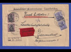 Saargebiet Germania Mi.-Nr. 35 und 38x je senkr. Paar auf Eilbrief 8.9.20