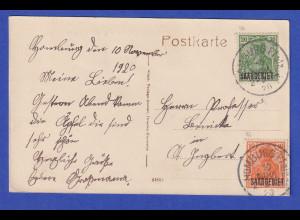 Saargebiet Germania Mi.-Nr. 45 und 46 auf AK Bad Homburg Pfalz 10.11.1920