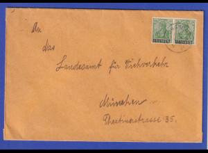 Saargebiet Germania 20Pfg grün Mi-Nr 46 waag. Paar als MEF auf Brief St. Ingbert