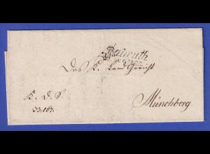 Bayern Dienstbrief mit Zweizeiler Baireuth 1824