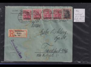 Saargebiet Germania Mi.-Nr. 33 und 38x auf R-Brief aus Neunkirchen 26.6.20