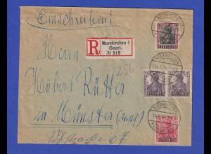 Saargebiet Germania Mi.-Nr. 33,34 und 38x auf R-Brief aus Neunkirchen 14.6.20