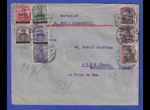 Saargebiet Germania Mischfrankatur 1. und 2. Ausgabe Wertbrief Saarbrücken 1920
