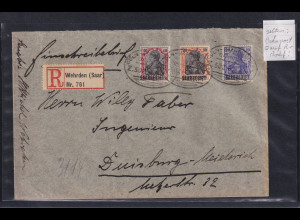 Saargebiet Germania Mi.-Nr. 35, 36, 37 auf R-Brief aus Wehrden, Bahnpost-O