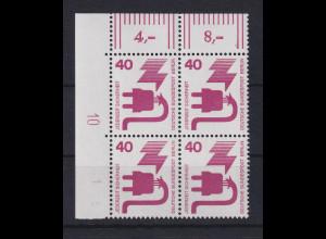 Berlin 1971 Unfallverhütung 40 Pfg Eckrand-Viererblock mit Druckerzeichen 10 **