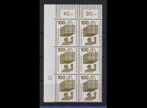 Berlin 1971 Unfallverhütung 100 Pfg Eckrand-Sechserblock m. Druckerzeichen 10 **