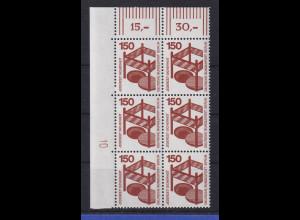 Berlin 1971 Unfallverhütung 150 Pfg Eckrand-Sechserblock m. Druckerzeichen 10 **
