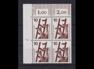 Bund 1971 Unfallverhütung 10 Pfg Eckrand-Viererblock mit Druckerzeichen 7 **