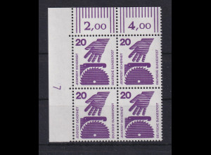 Bund 1971 Unfallverhütung 20 Pfg Eckrand-Viererblock mit Druckerzeichen 7 **