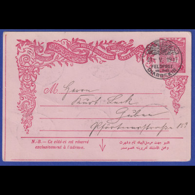Deutsche Post in der Türkei 1917 Felpostkarte aus DIABARKIR gestempelt