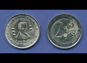 Belgien 2-Euro Sondermünze 2009 Louis Braille , bankfrisch aus Rolle