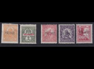 Fiume 1918 Freimarken Mi.-Nr. 1-5 ungebraucht *