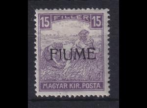Fiume 1918 Freimarke 15 f Mi.-Nr. 7 I ungebraucht *