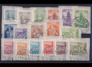 Fiume 1919 Freimarken Mi.-Nr. 32-48 gestempelt auf Briefstücken