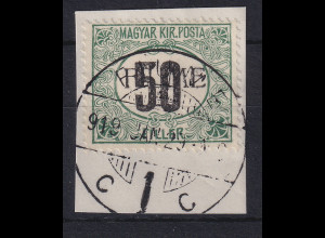 Fiume 1918 Portomarke 50 f Mi.-Nr. 3 II Z gestempelt auf Briefstück