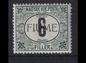 Fiume 1918 Portomarke 6 f Mi.-Nr. 1 II Z ungebraucht *