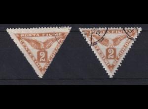 Fiume 1919 Zeitungsmarke 2 C Mi.-Nr. 49 I und II gestempelt