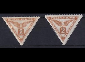 Fiume 1919 Zeitungsmarken 2 C Mi.-Nr. 49 I und II ungebraucht *