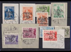 Fiume Lot von 10 Werten gestempelt auf Briefstücken