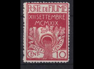 Fiume 1920 Militärpostmarke 10 C Mi.-Nr. 2 ungestempelt ohne Gummierung (*)