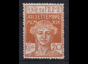 Fiume 1920 Militärpostmarke 20 C Mi.-Nr. 3 ungestempelt ohne Gummierung (*)