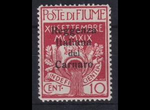 Fiume 1920 Besetzung der Carnaro-Inseln 10 C Mi.-Nr. 4 ungebraucht *