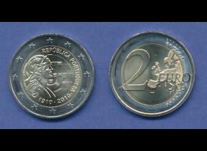 Portugal 2-Euro Sondermünze 2010 100 Jahre Republik , bankfrisch aus Rolle