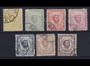 Montenegro 1893 Fürst Nikola I. 4. Auflage Mi.-Nr. 1-7 IV gestempelt
