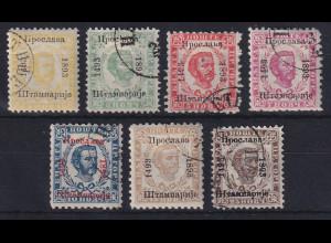 Montenegro 1893 Fürst Nikola I. mit Aufdruck Mi.-Nr. 8-14 III gestempelt