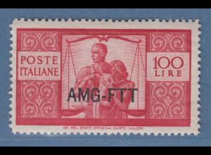 Triest Zone A 1949 Freimarken Höchstwert 100 Lire Mi.-Nr. 91 postfrisch **