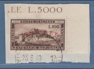 Triest Zone A 1949 100 Lire Republica Romana Mi.-Nr. 65 gestempelt Briefstück